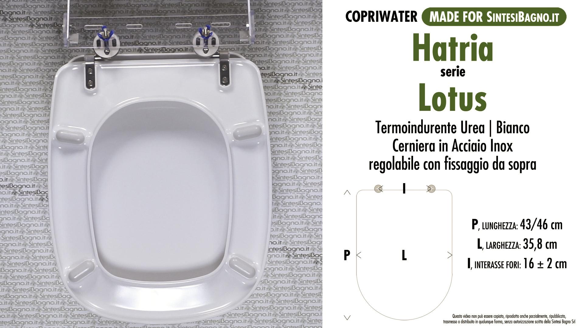 SCHEDA TECNICA MISURE copriwater HATRIA LOTUS
