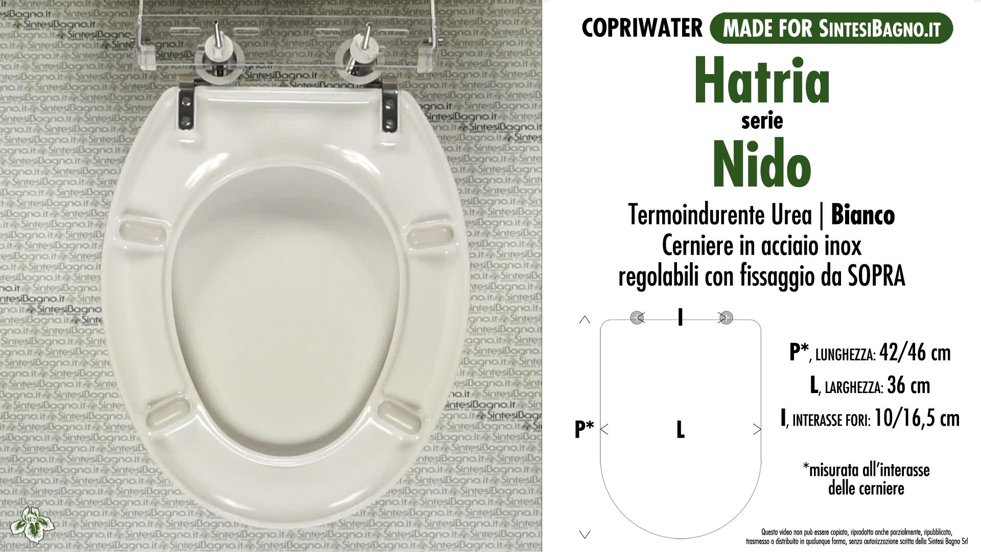 SCHEDA TECNICA MISURE copriwater HATRIA NIDO