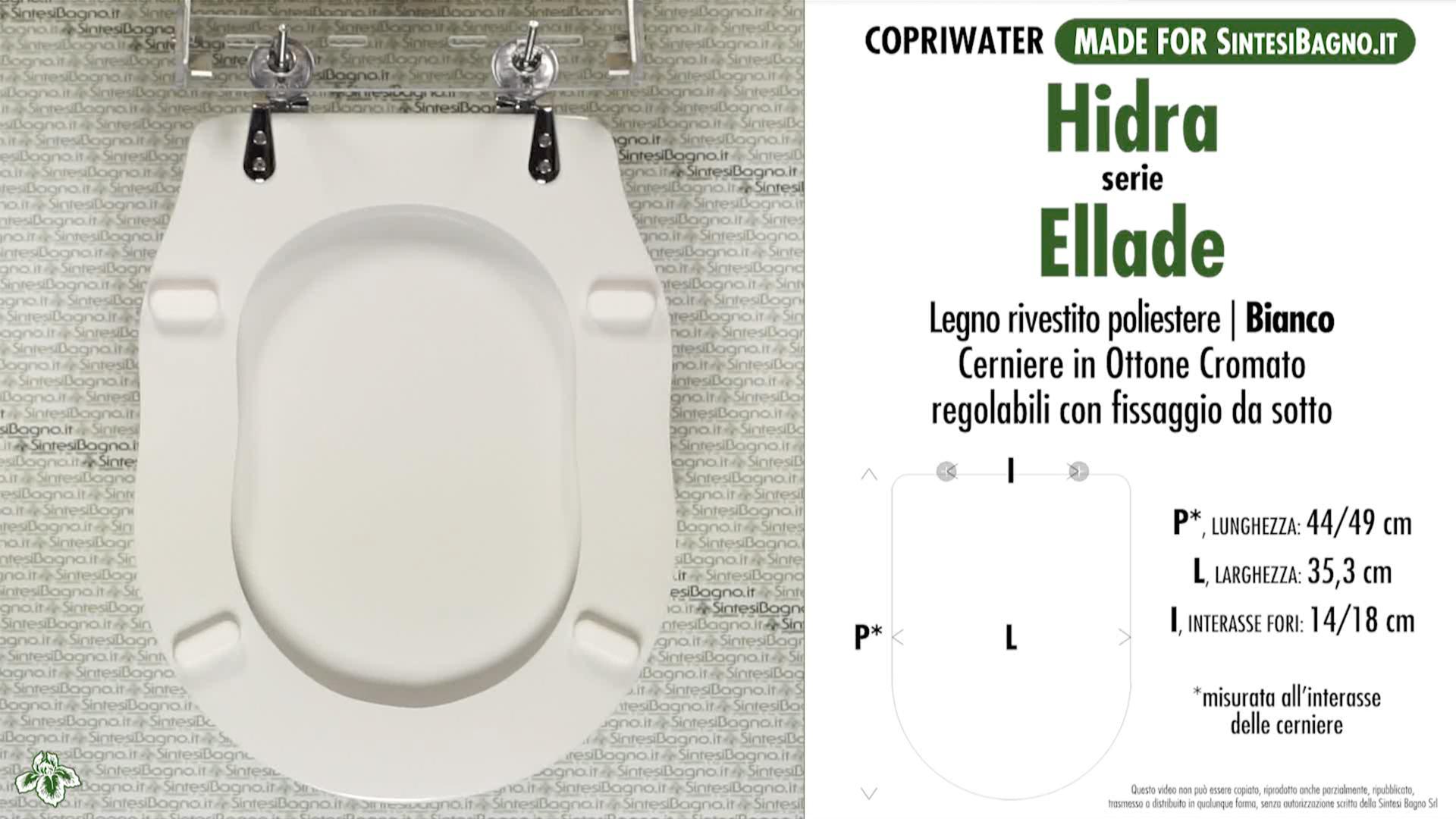 SCHEDA TECNICA MISURE copriwater HIDRA ELLADE