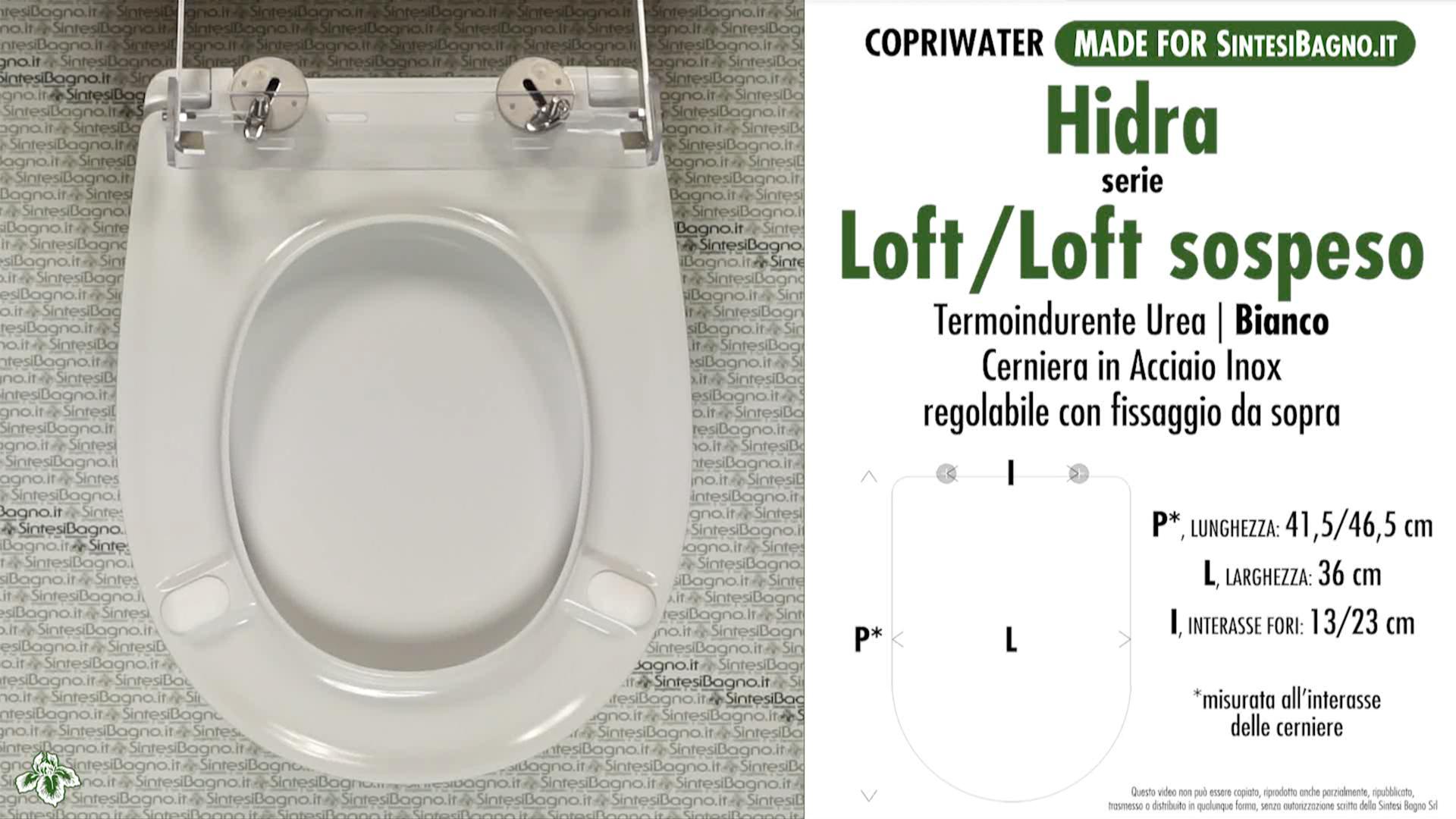 SCHEDA TECNICA MISURE copriwater HIDRA LOFT