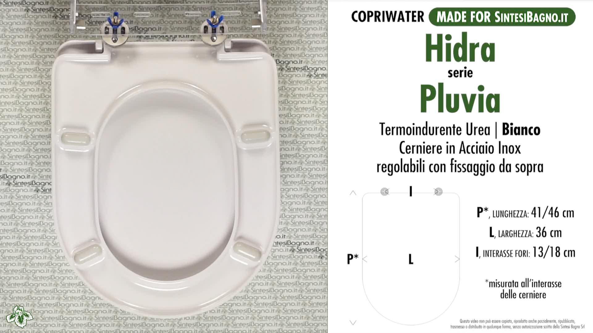 SCHEDA TECNICA MISURE copriwater HIDRA PLUVIA