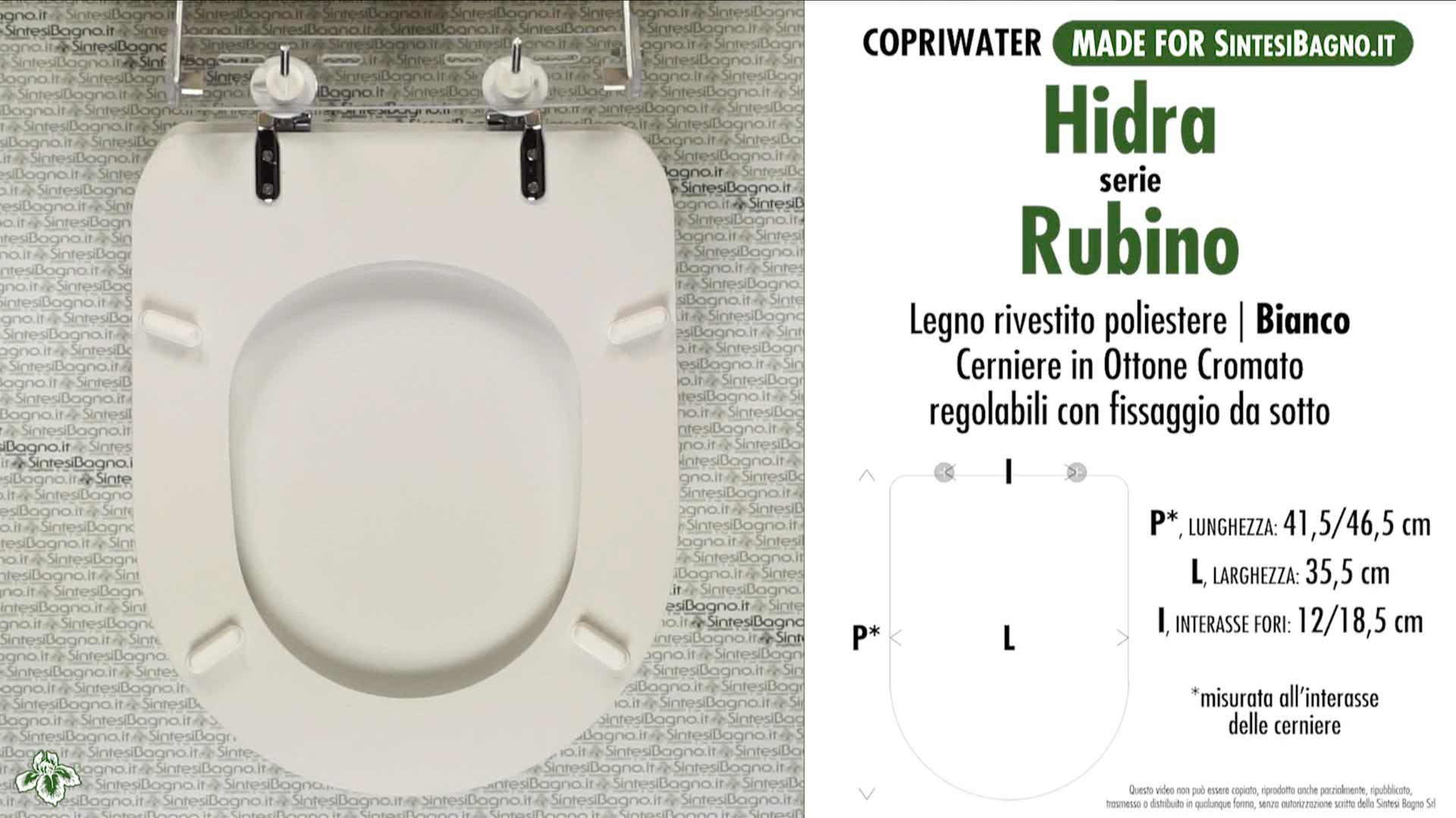 SCHEDA TECNICA MISURE copriwater HIDRA RUBINO