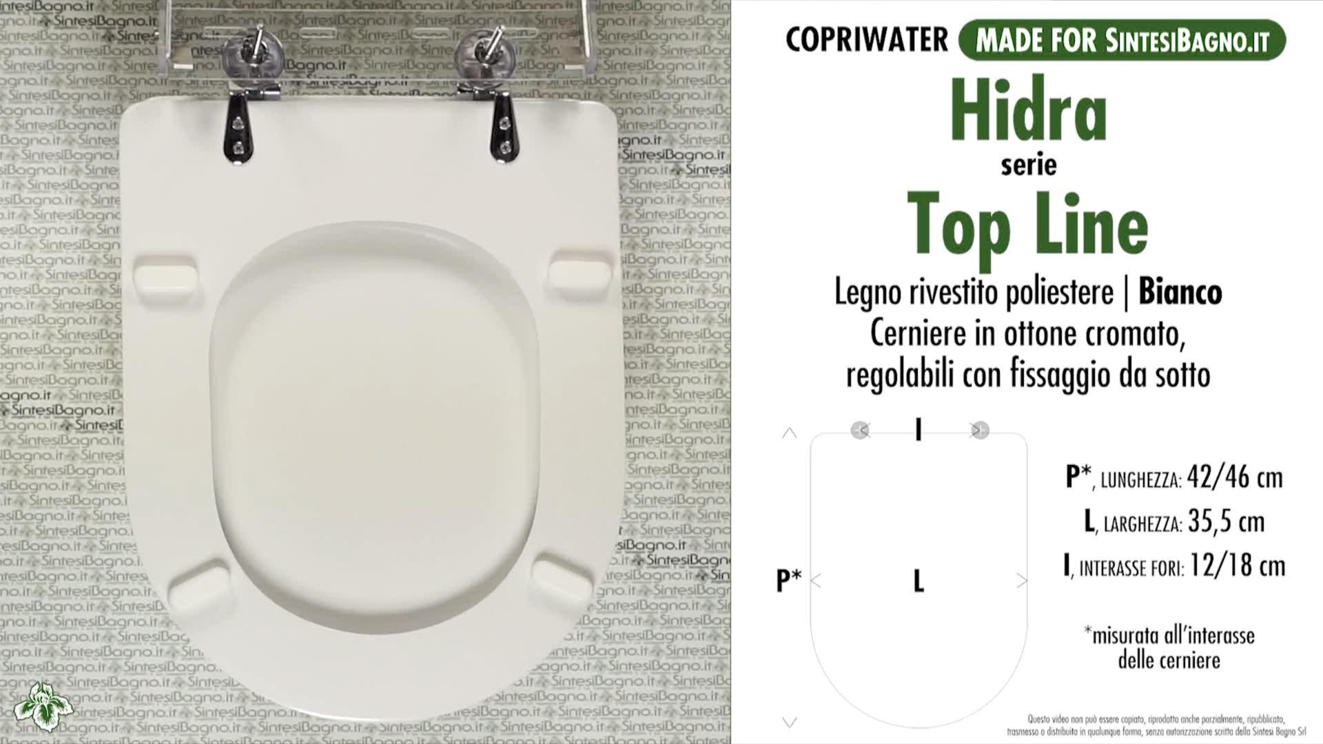 SCHEDA TECNICA MISURE copriwater HIDRA TOP LINE