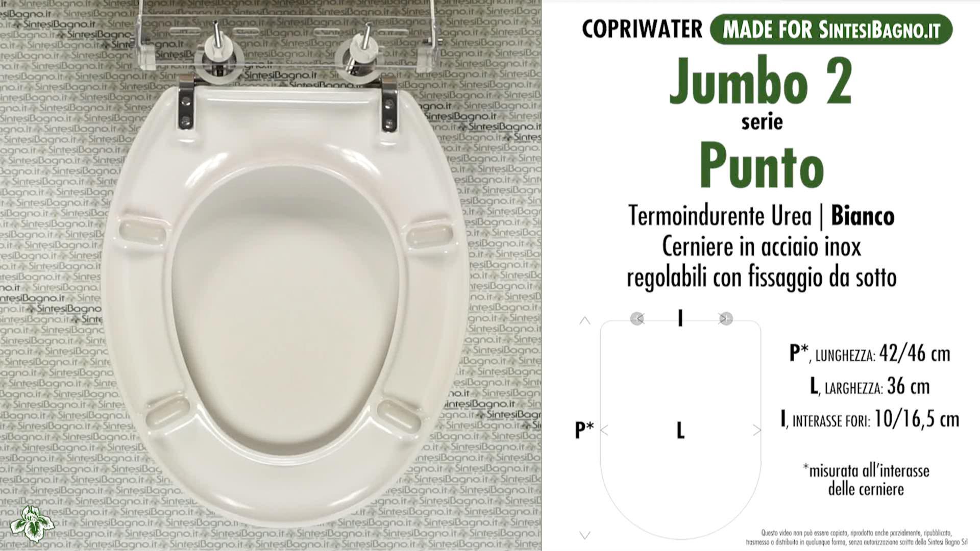 SCHEDA TECNICA MISURE copriwater JUMBO 2 PUNTO