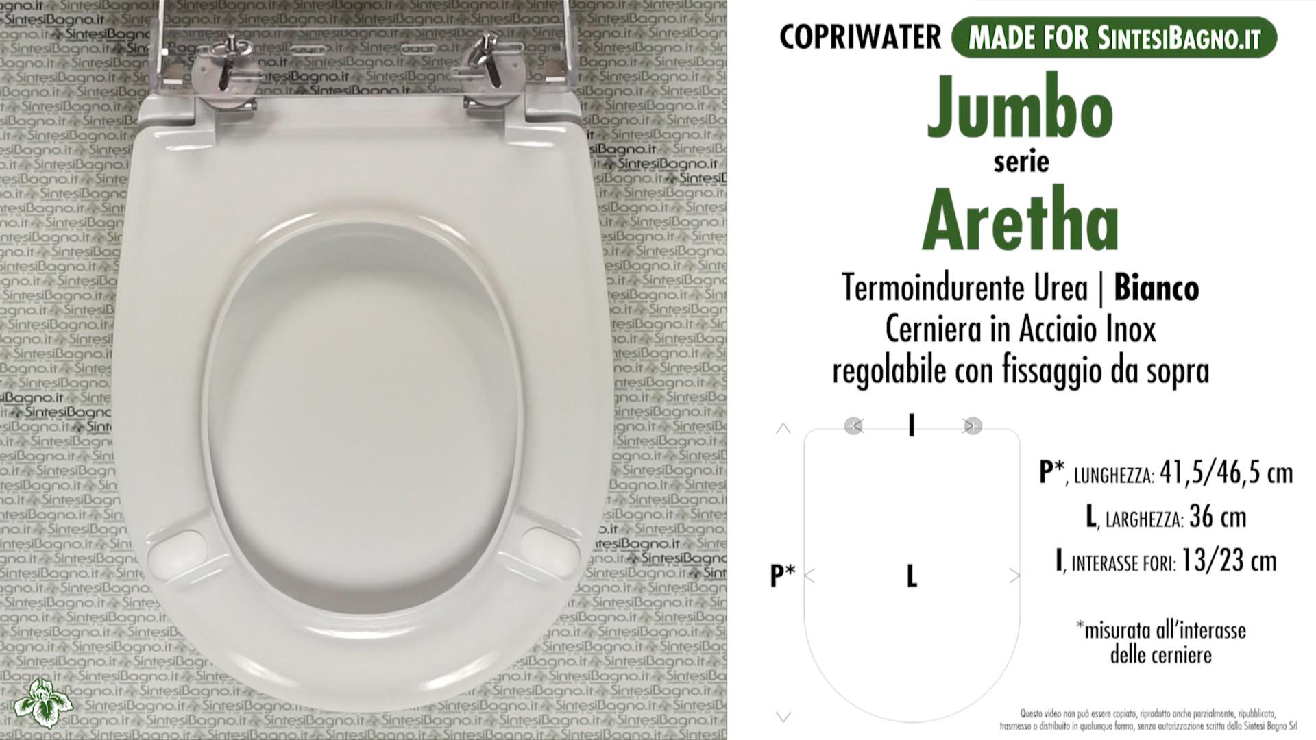 SCHEDA TECNICA MISURE copriwater JUMBO 2 ARETHA