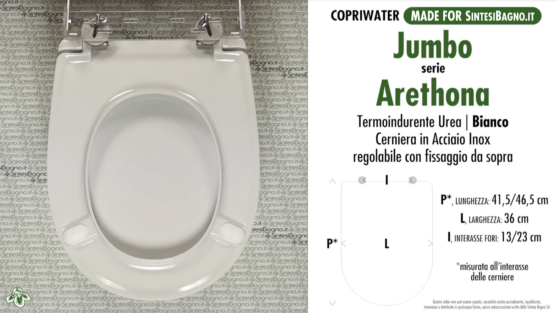 SCHEDA TECNICA MISURE copriwater JUMBO 2 ARETHONA