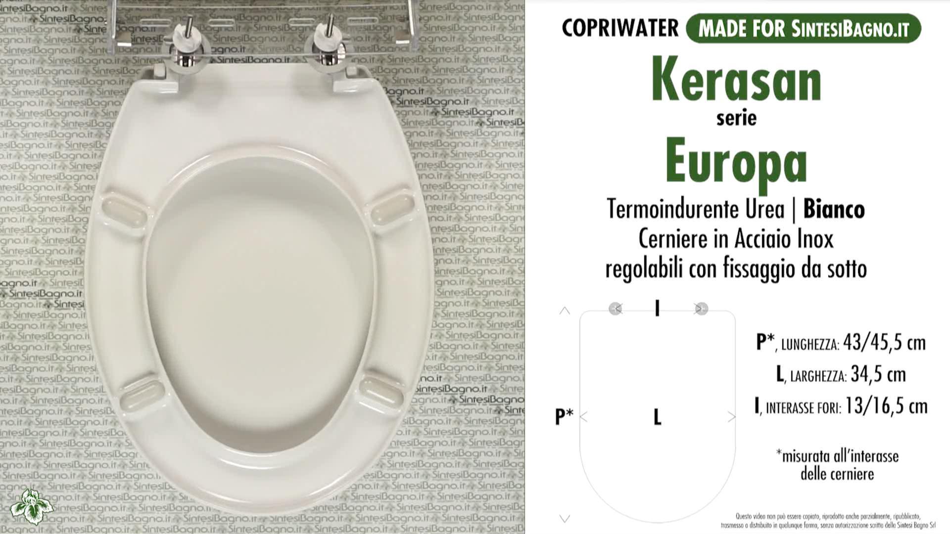 SCHEDA TECNICA MISURE copriwater KERASAN EUROPA