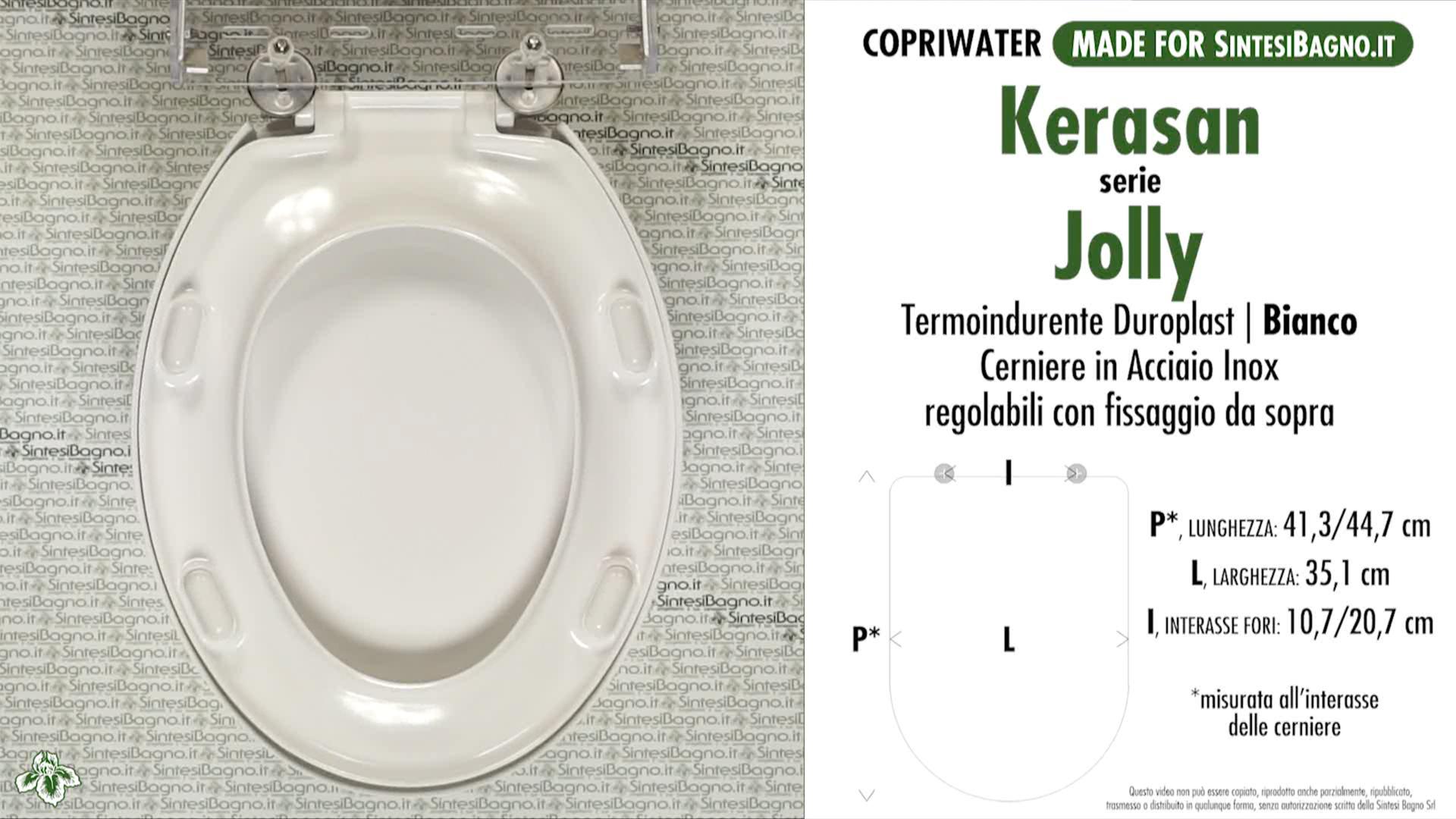 SCHEDA TECNICA MISURE copriwater KERASAN JOLLY