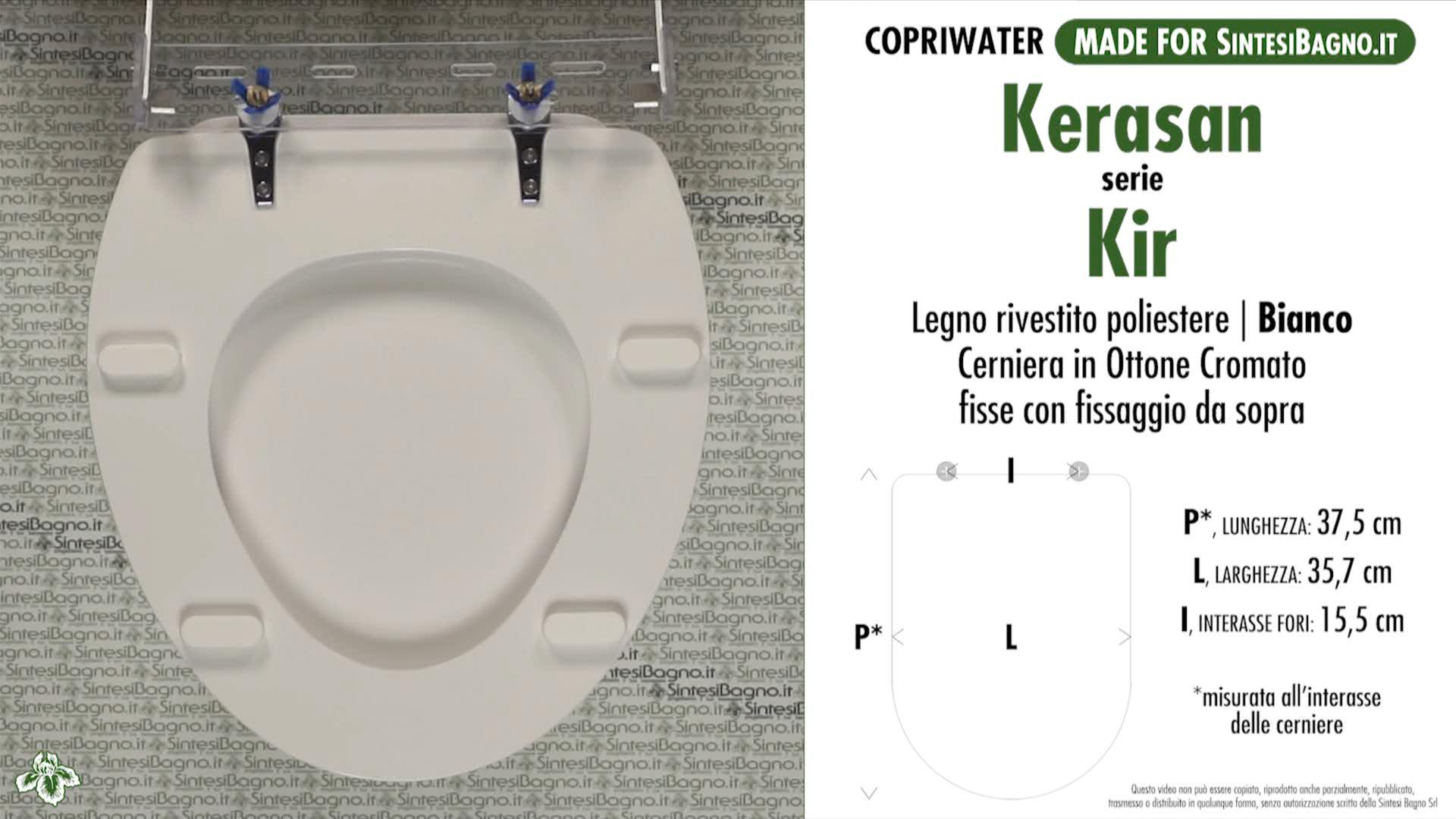 SCHEDA TECNICA MISURE copriwater KERASAN KIR