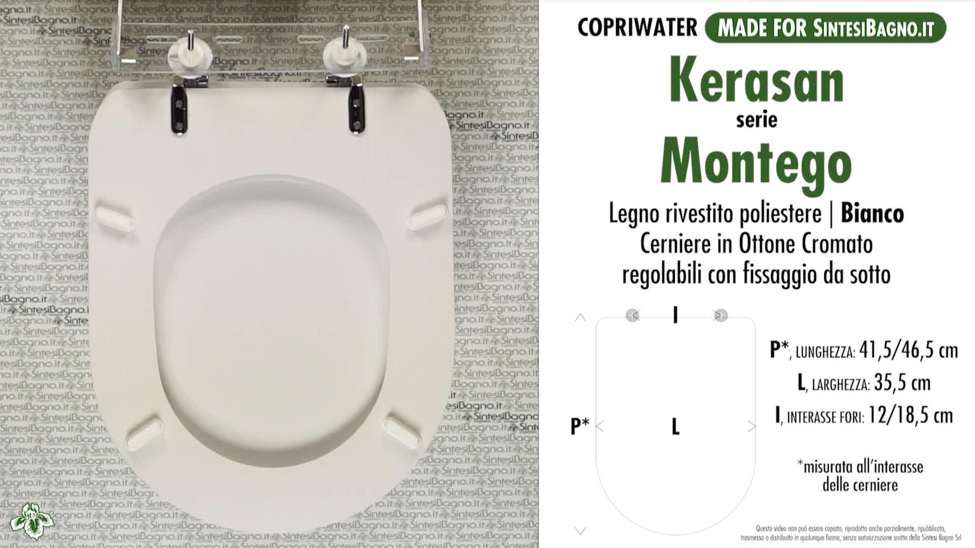 SCHEDA TECNICA MISURE copriwater KERASAN MONTEGO