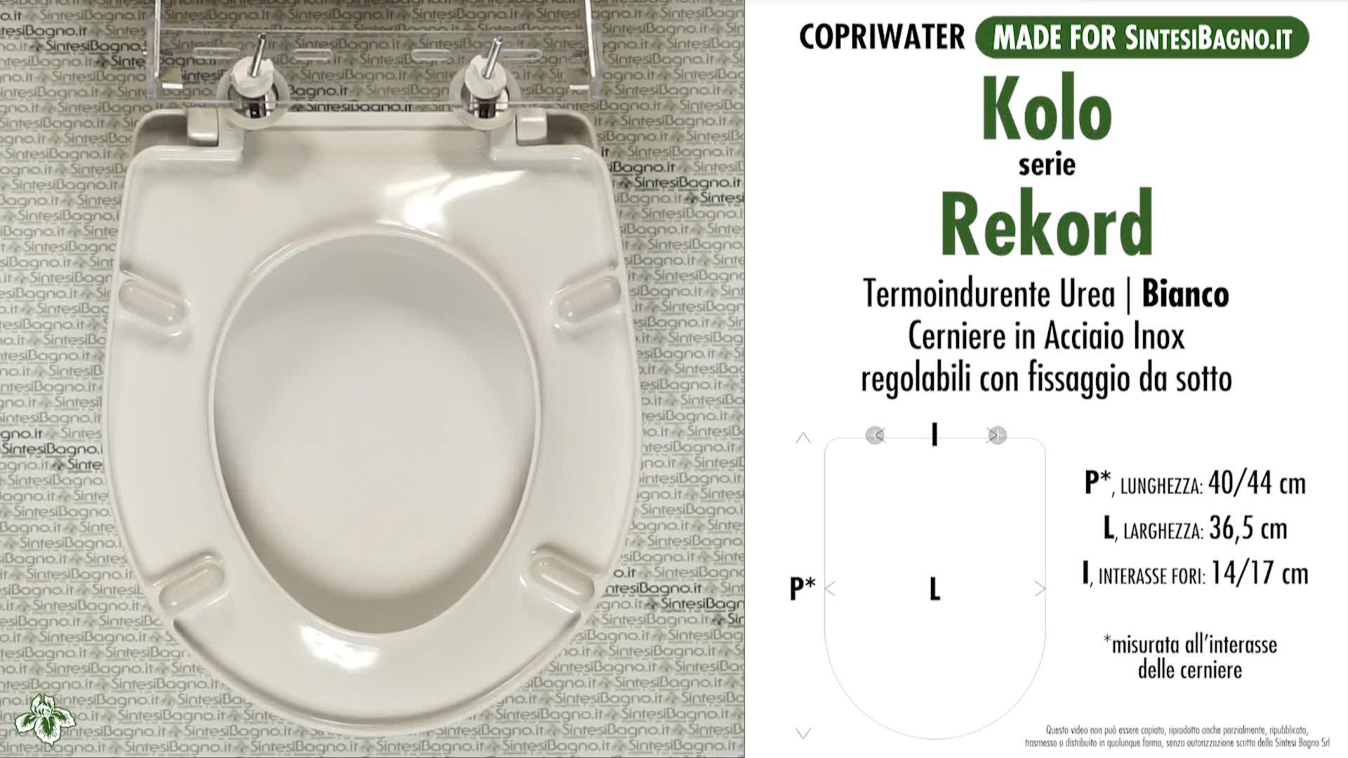 SCHEDA TECNICA MISURE copriwater KOLO REKORD