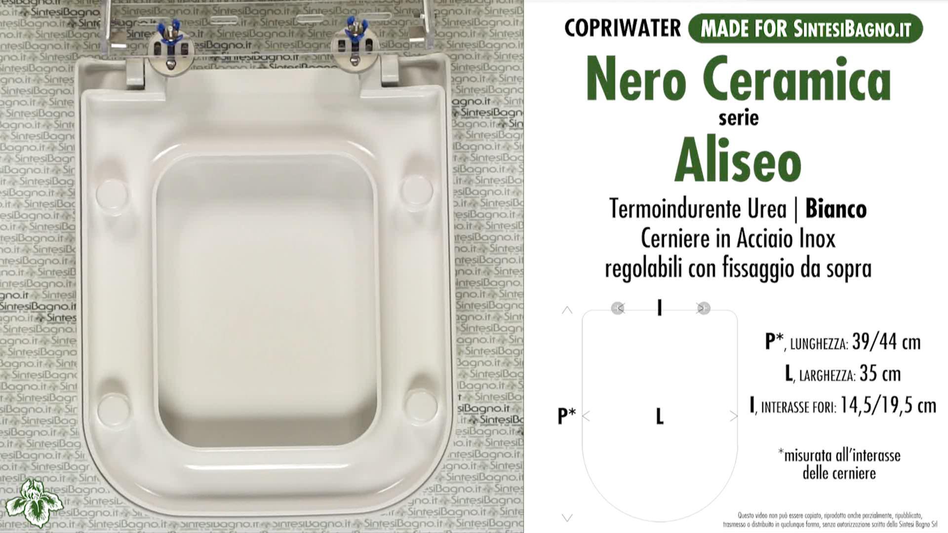 SCHEDA TECNICA MISURE copriwater NERO CERAMICA ALISEO