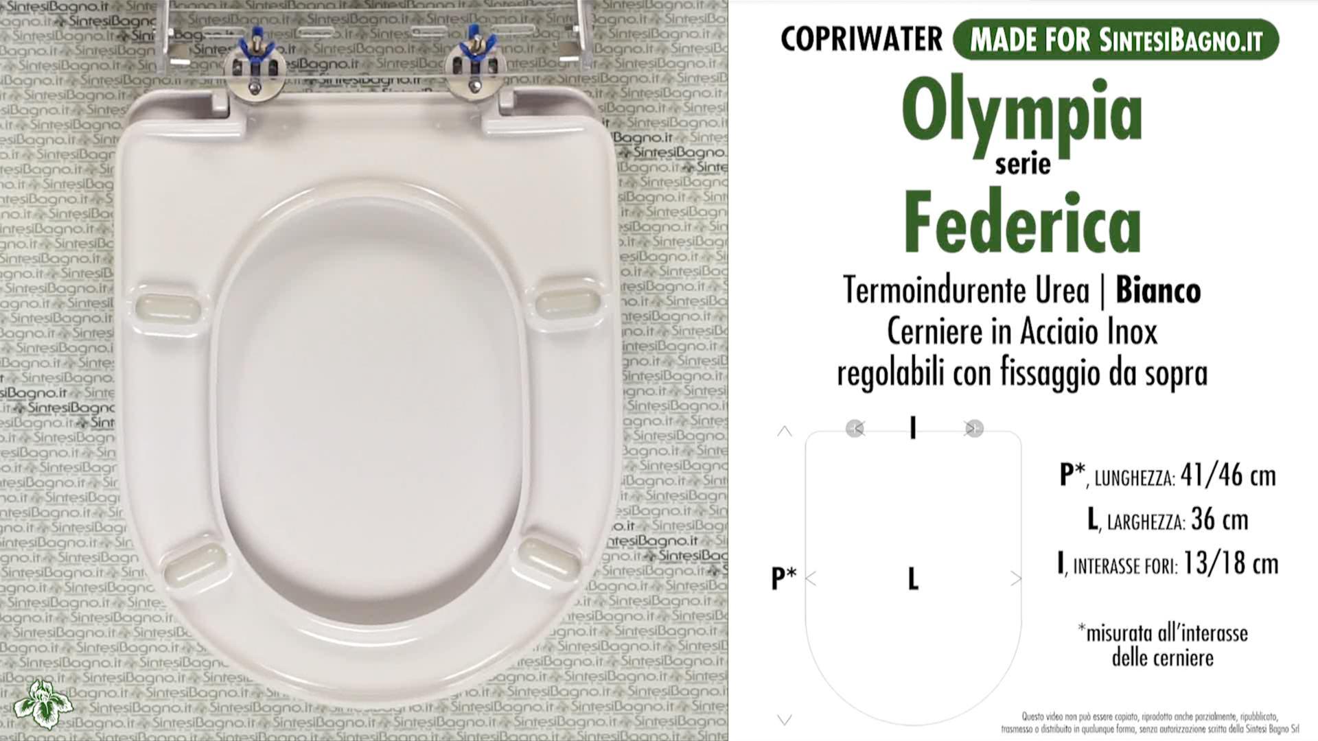SCHEDA TECNICA MISURE copriwater OLYMPIA FEDERICA