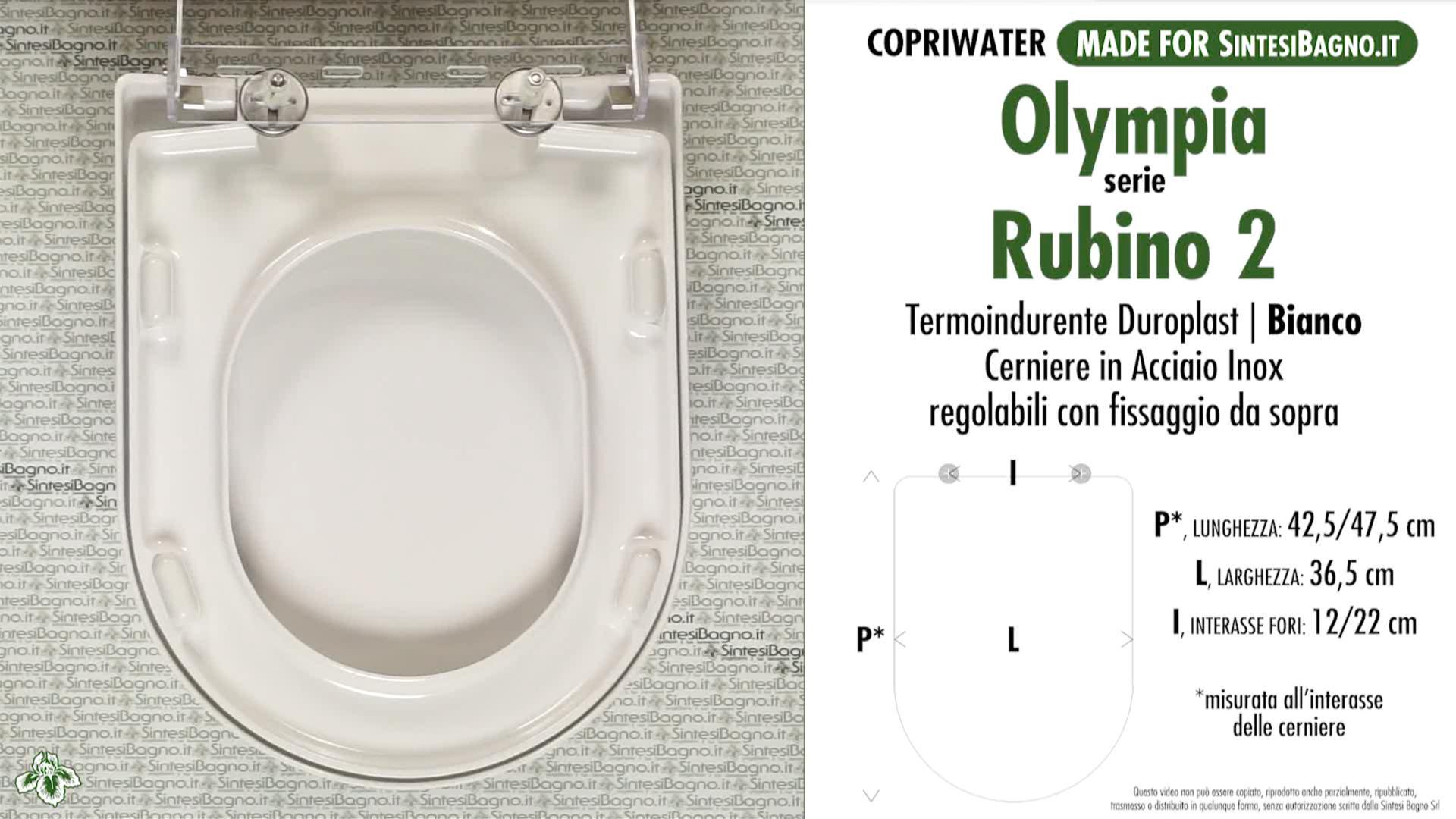 SCHEDA TECNICA MISURE copriwater OLYMPIA RUBINO