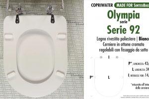 SCHEDA TECNICA MISURE copriwater OLYMPIA SERIE 92
