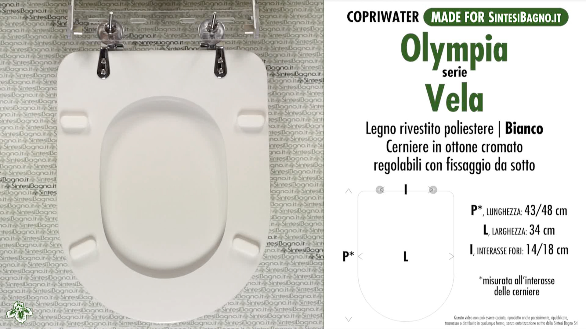 SCHEDA TECNICA MISURE copriwater OLYMPIA VELA