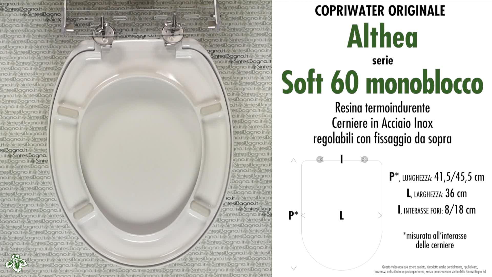 SCHEDA TECNICA MISURE copriwater ALTHEA SOFT