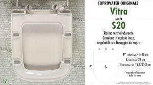 SCHEDA TECNICA MISURE copriwater VITRA S20