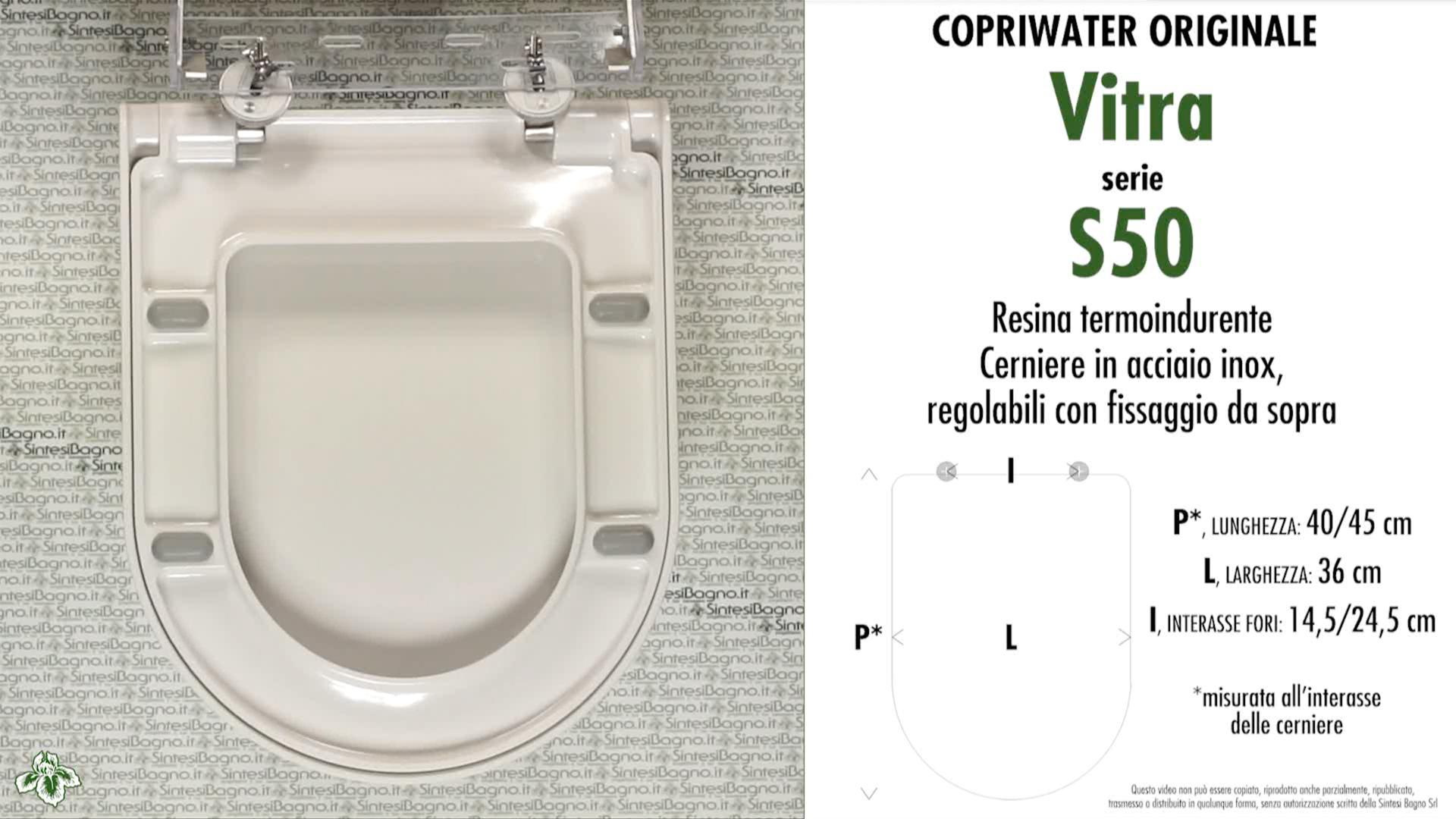 SCHEDA TECNICA MISURE copriwater VITRA S50