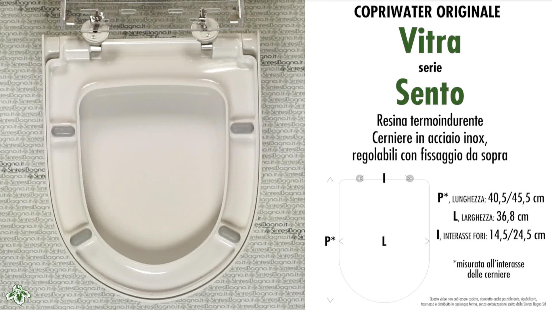 SCHEDA TECNICA MISURE copriwater VITRA SENTO