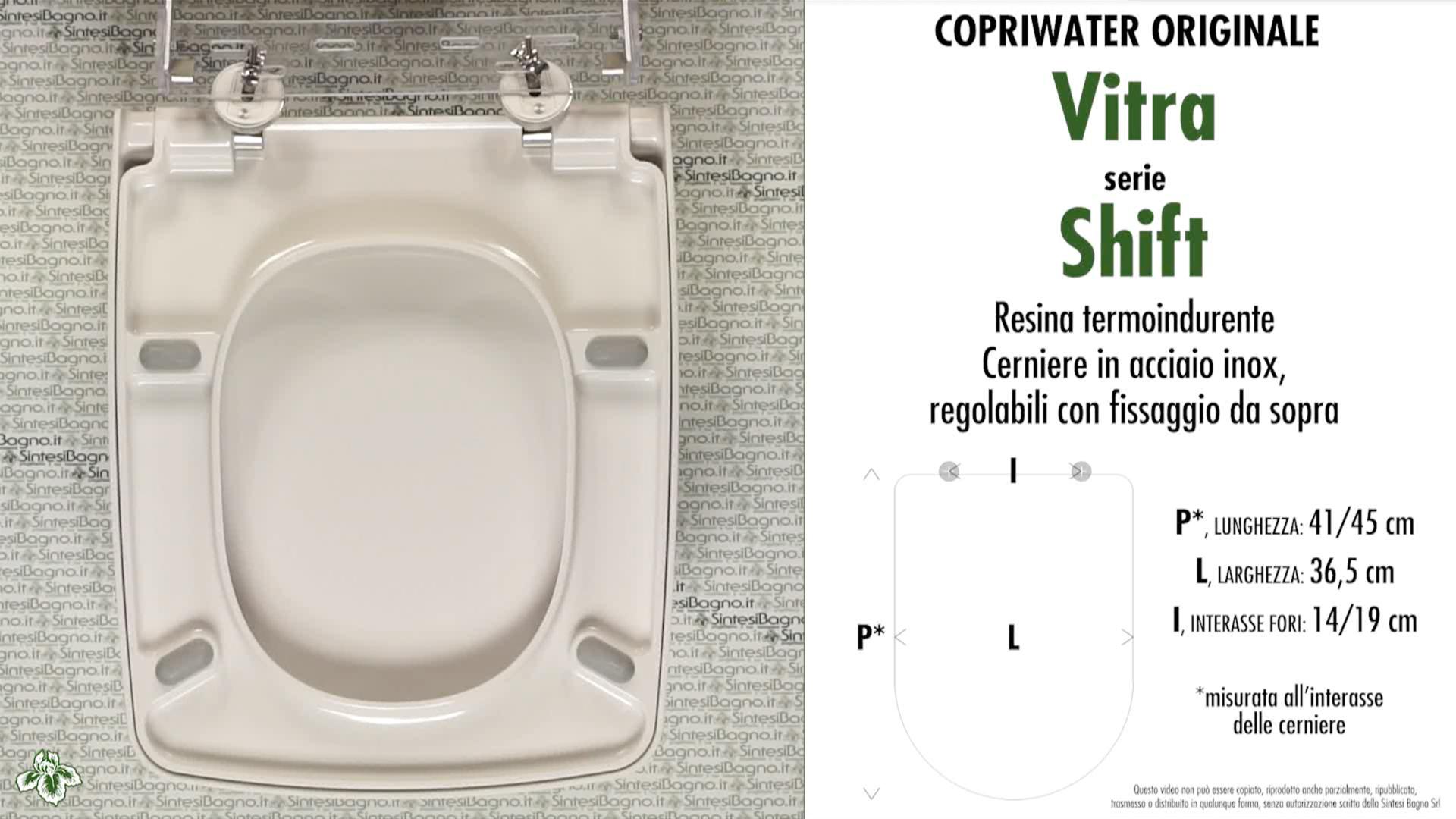 SCHEDA TECNICA MISURE copriwater VITRA SHIFT