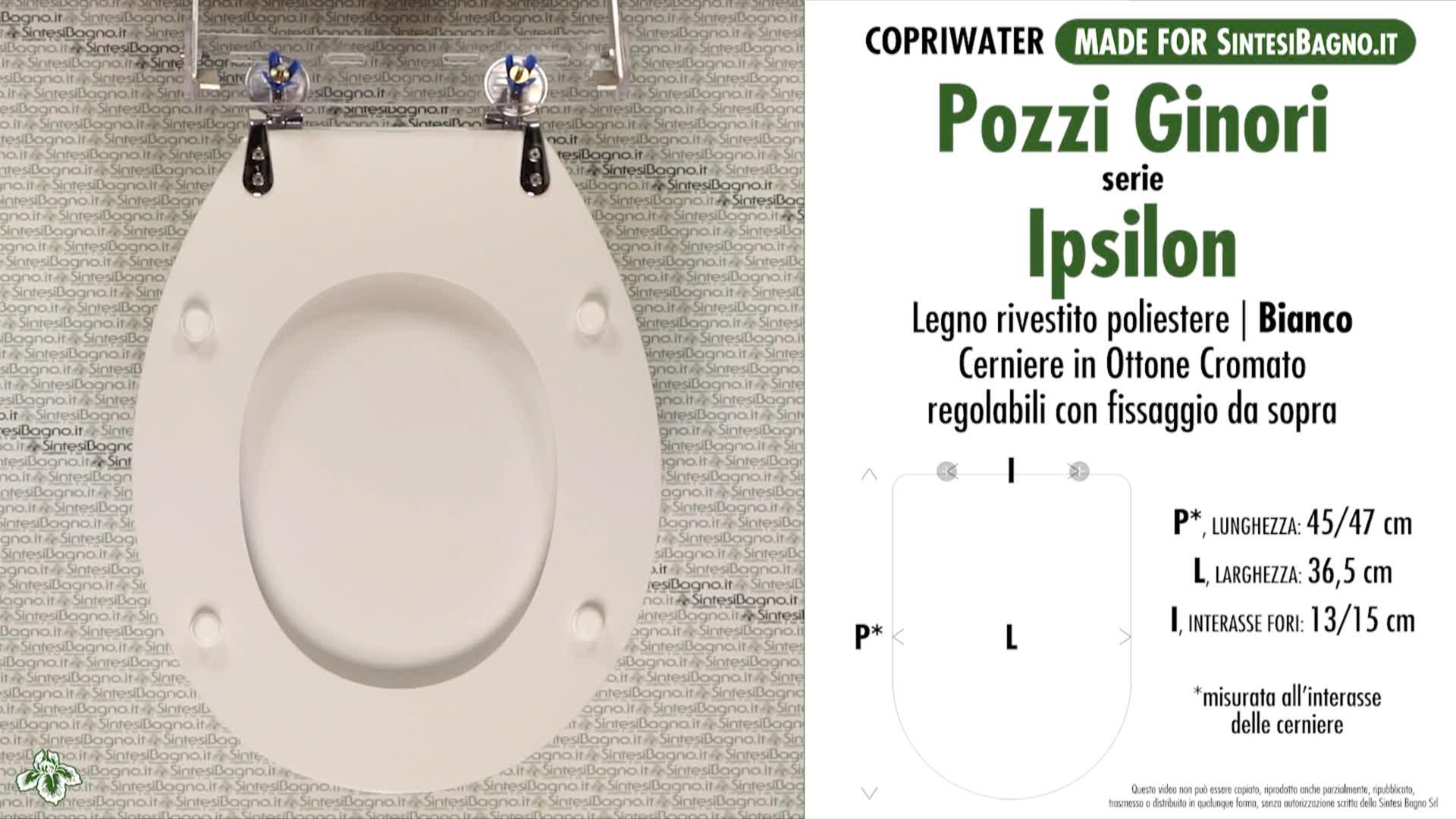 SCHEDA TECNICA MISURE copriwater POZZI GINORI IPSILON