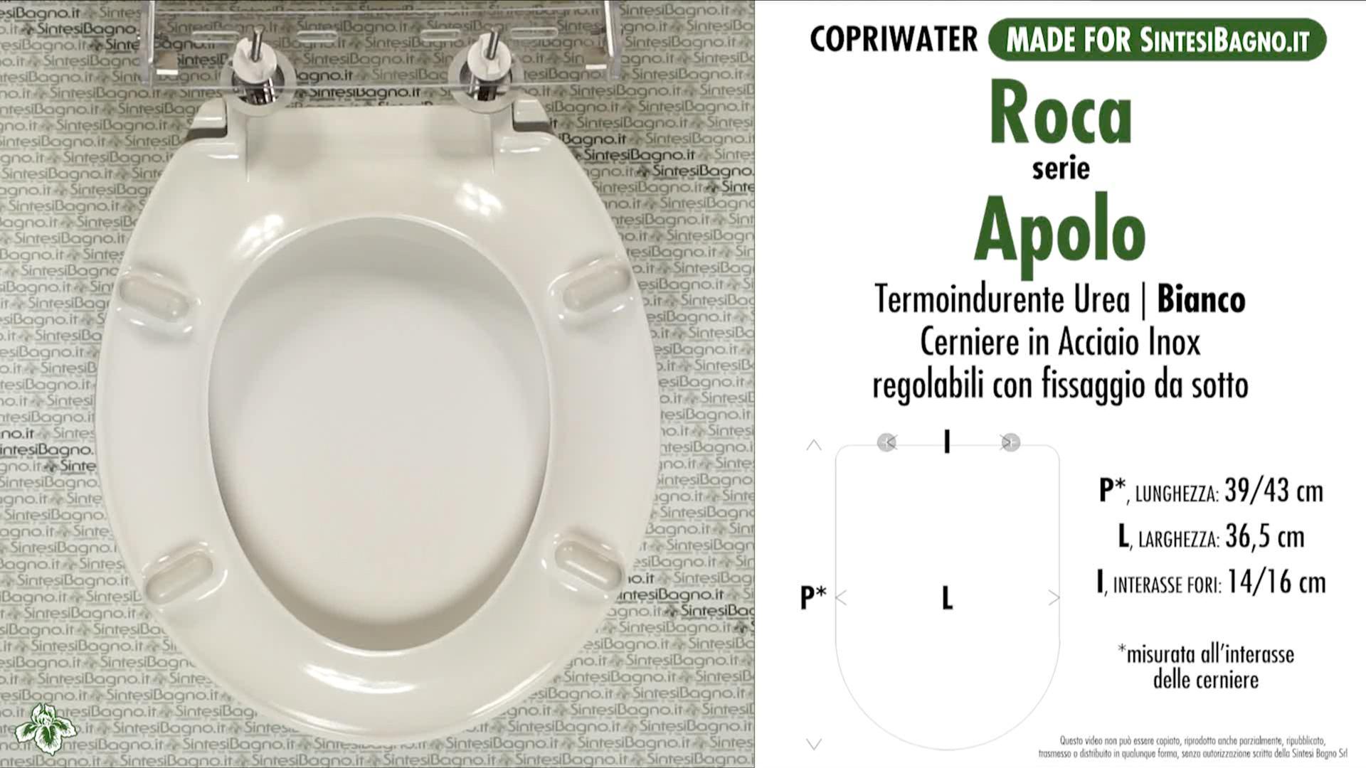 SCHEDA TECNICA MISURE copriwater ROCA APOLO