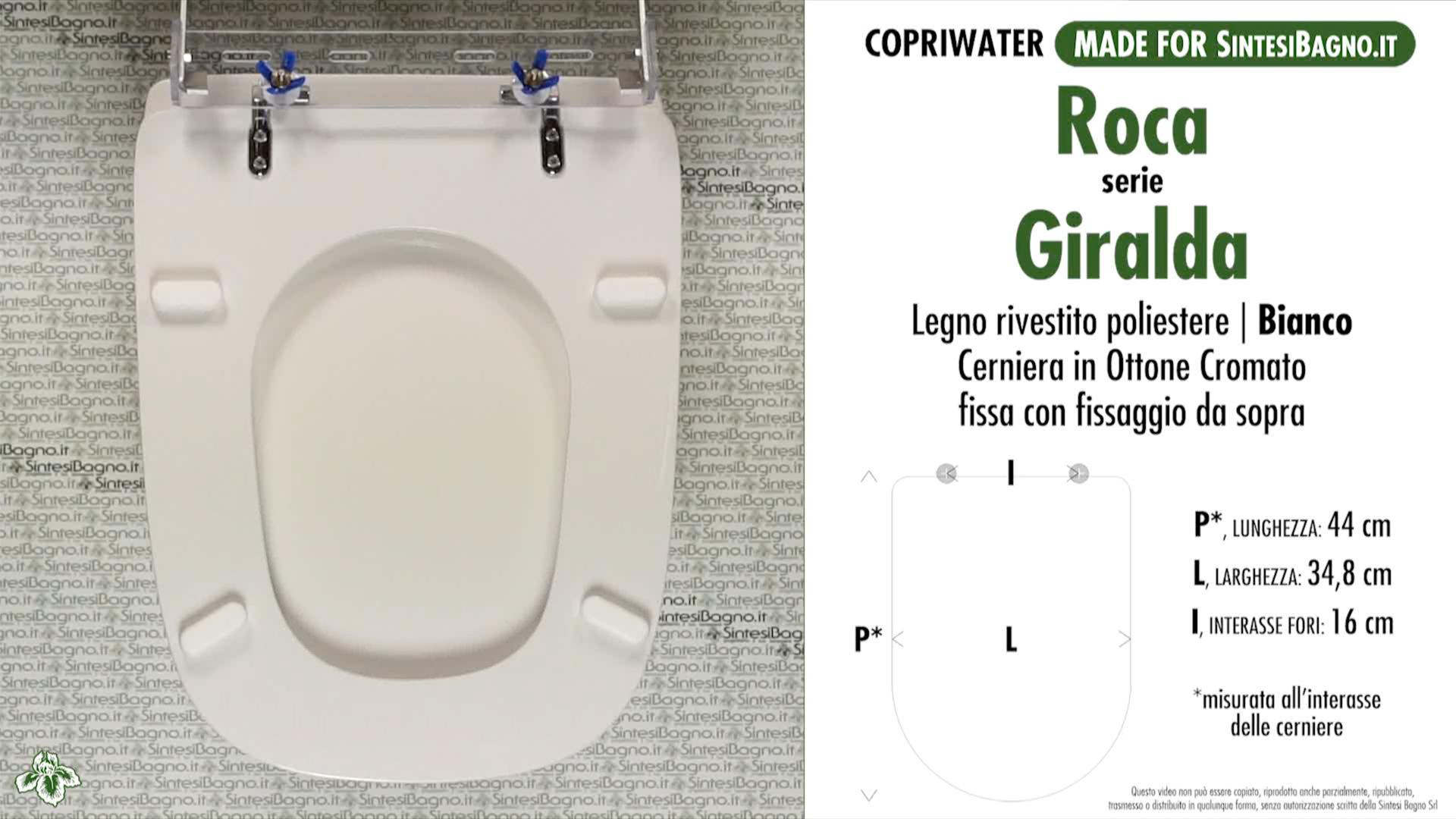 SCHEDA TECNICA MISURE copriwater ROCA GIRALDA