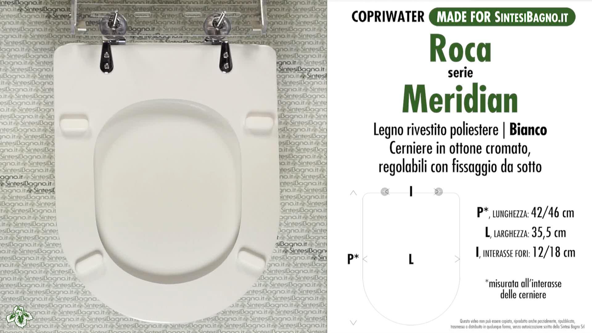 SCHEDA TECNICA MISURE copriwater ROCA MERIDIAN