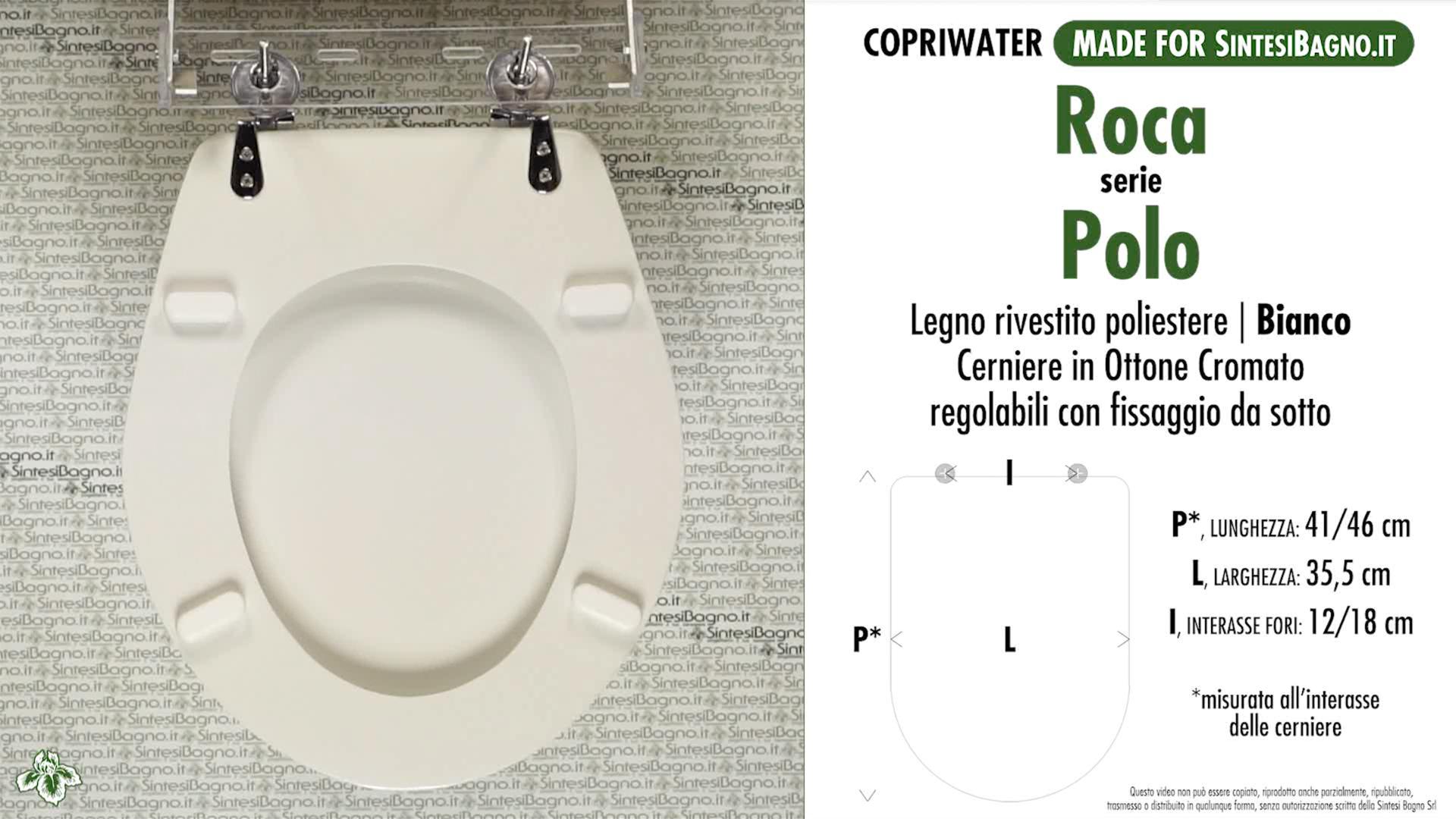 SCHEDA TECNICA MISURE copriwater ROCA POLO