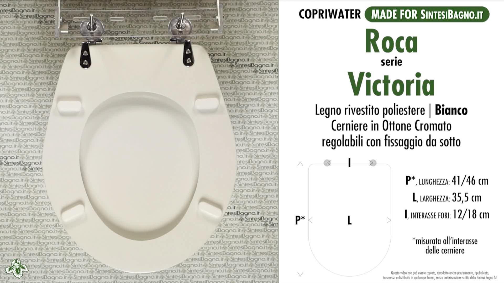 SCHEDA TECNICA MISURE copriwater ROCA VICTORIA