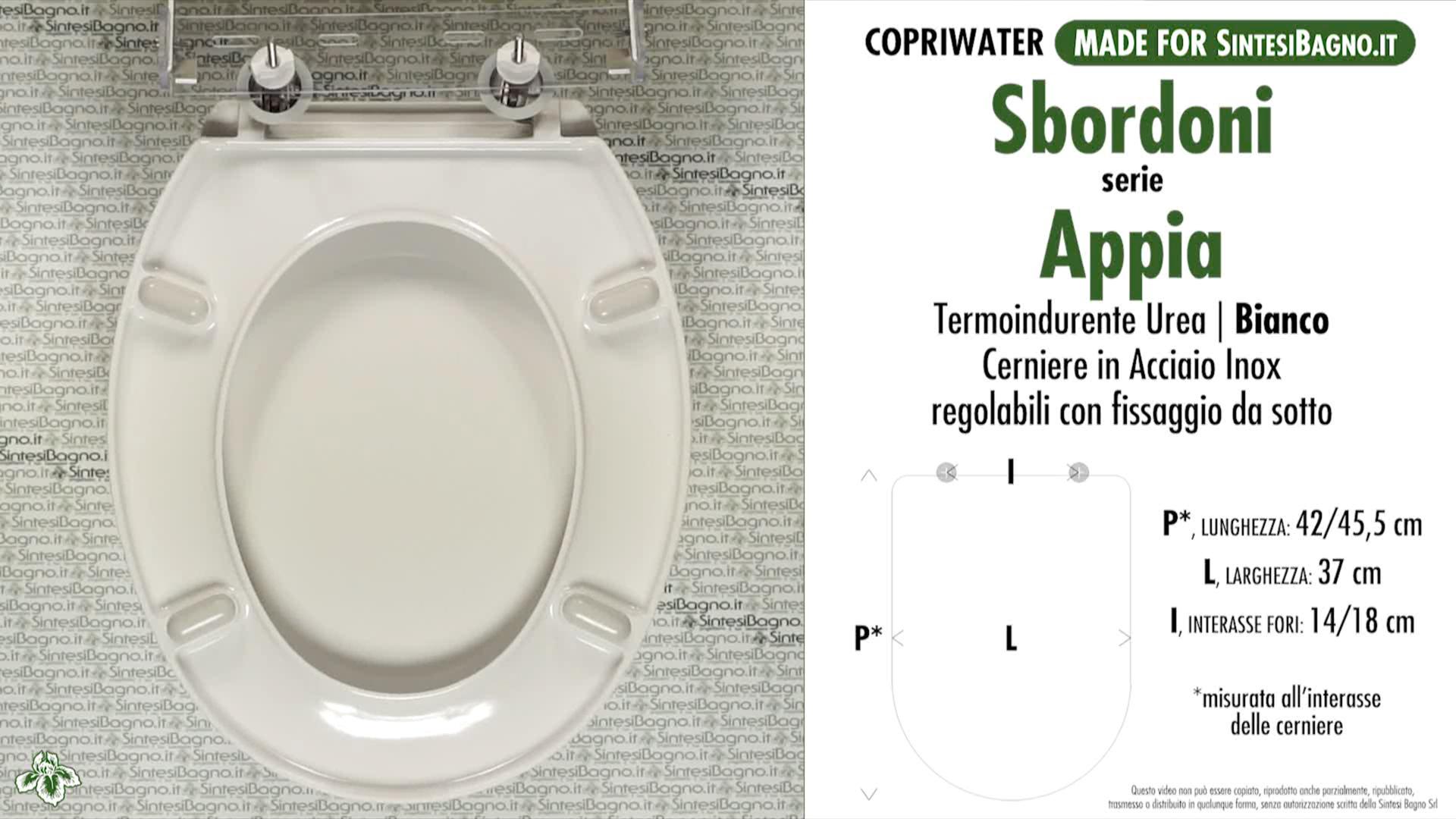 SCHEDA TECNICA MISURE copriwater SBORDONI APPIA