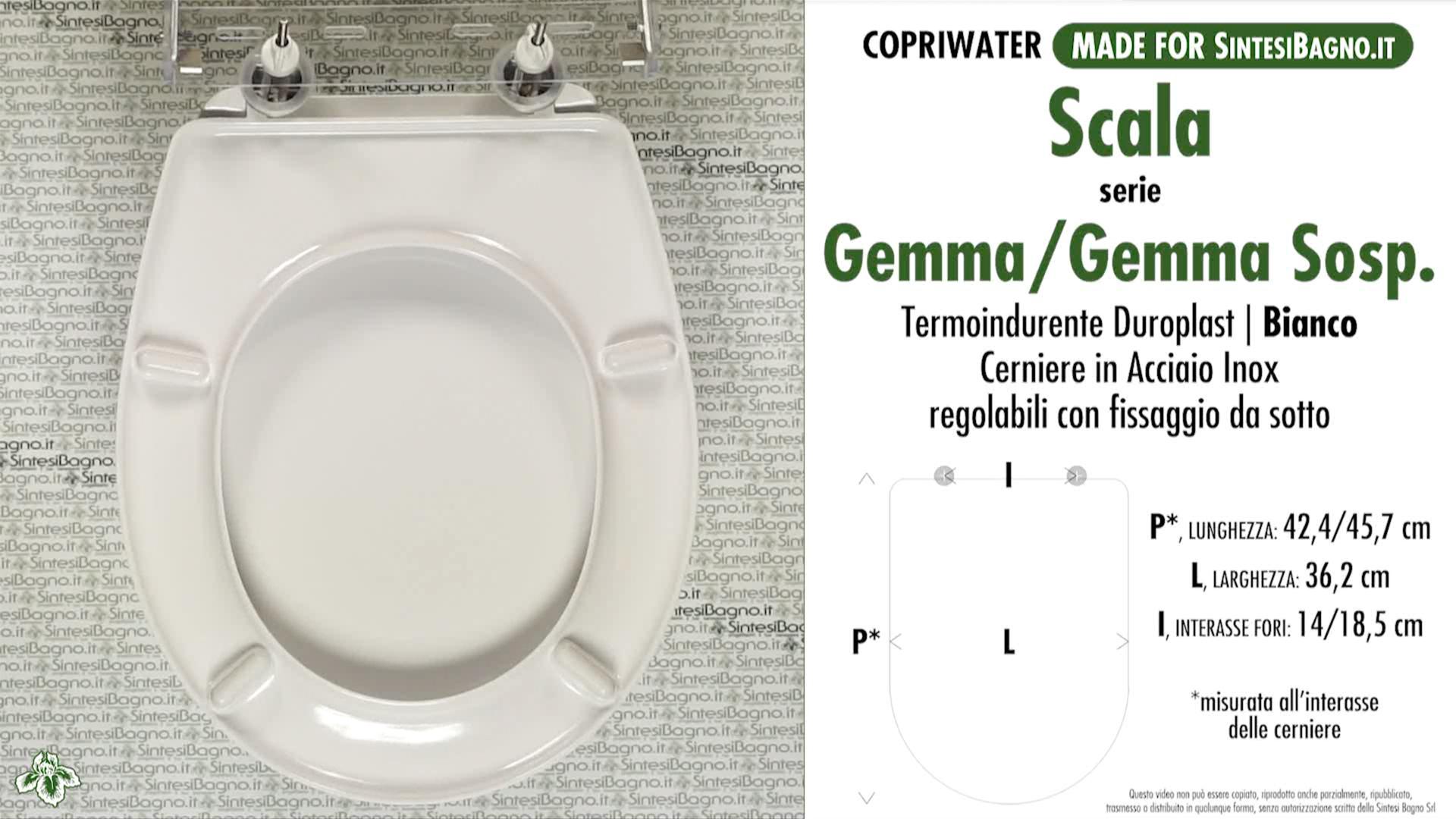 Ceramica Scala Serie Gemma.Schede Tecniche Misure Copriwater Scala Serie Gemma