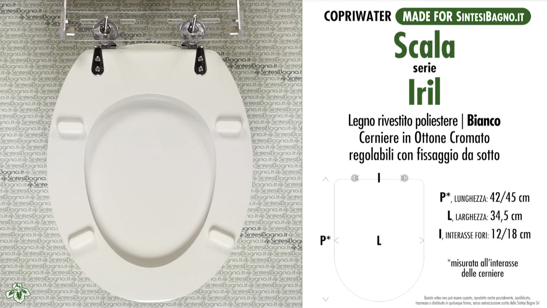 SCHEDA TECNICA MISURE copriwater SCALA IRIL