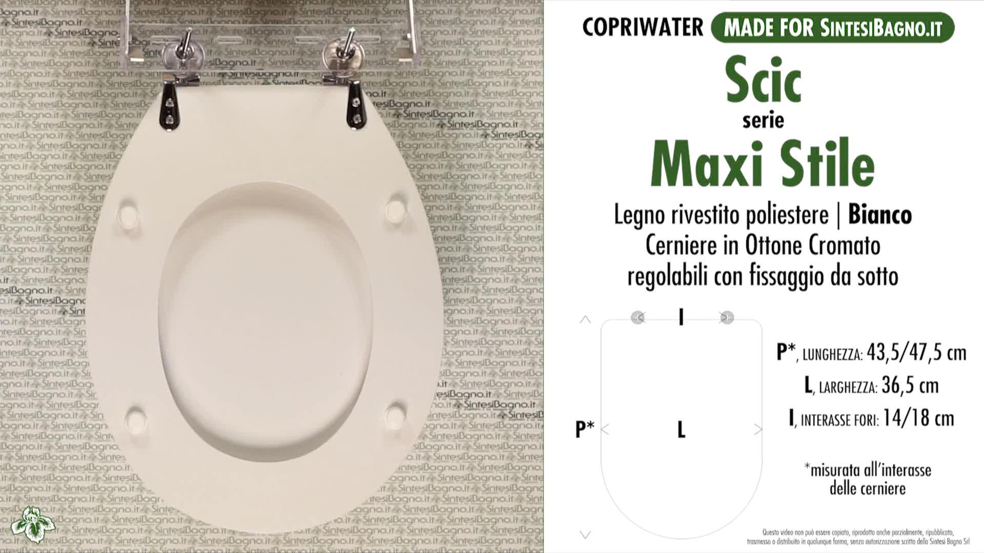 SCHEDA TECNICA MISURE copriwater SCIC MAXI STILE