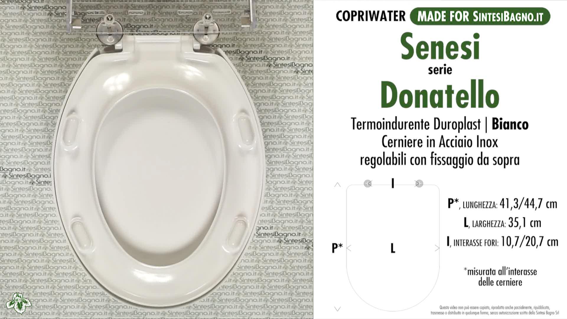 SCHEDA TECNICA MISURE copriwater SENESI DONATELLO