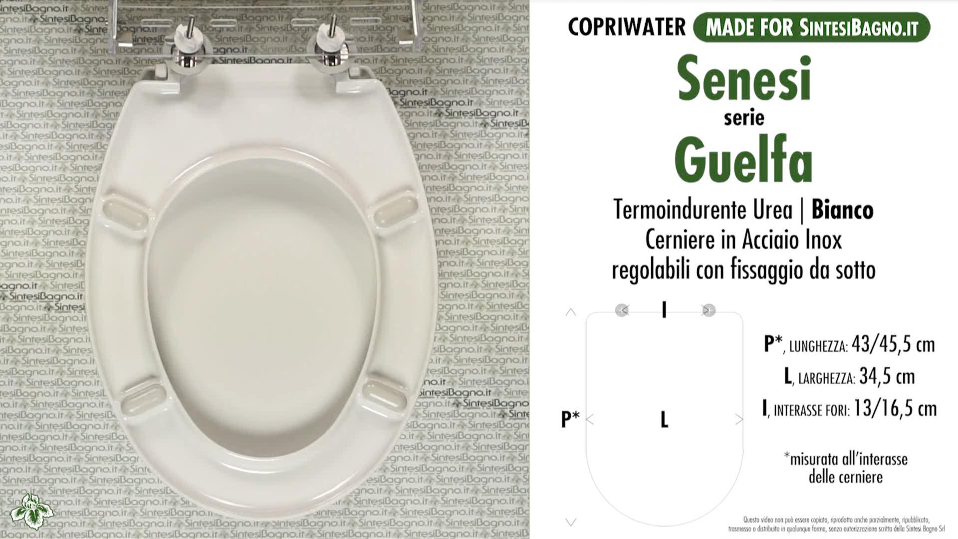 SCHEDA TECNICA MISURE copriwater SENESI GUELFA