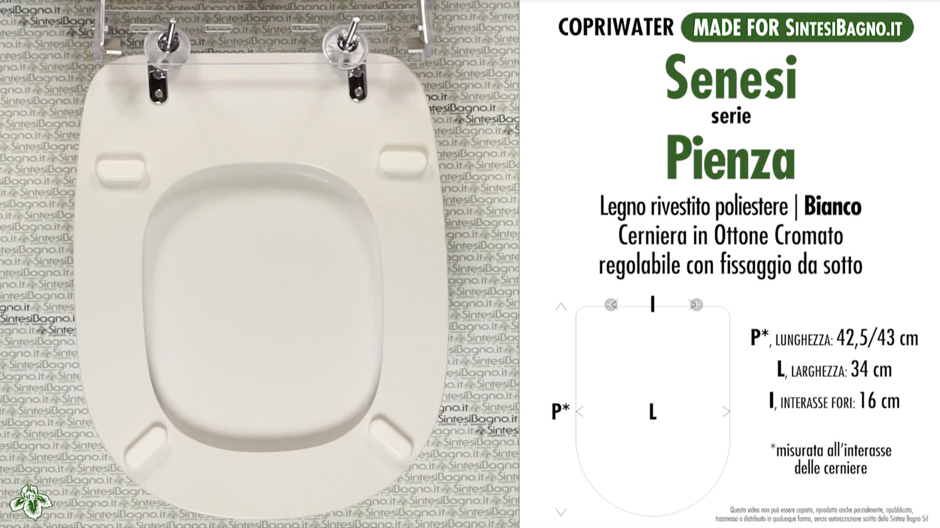 SCHEDA TECNICA MISURE copriwater SENESI PIENZA