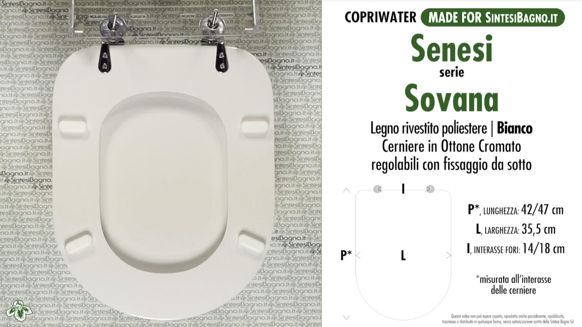SCHEDA TECNICA MISURE copriwater SENESI SOVANA