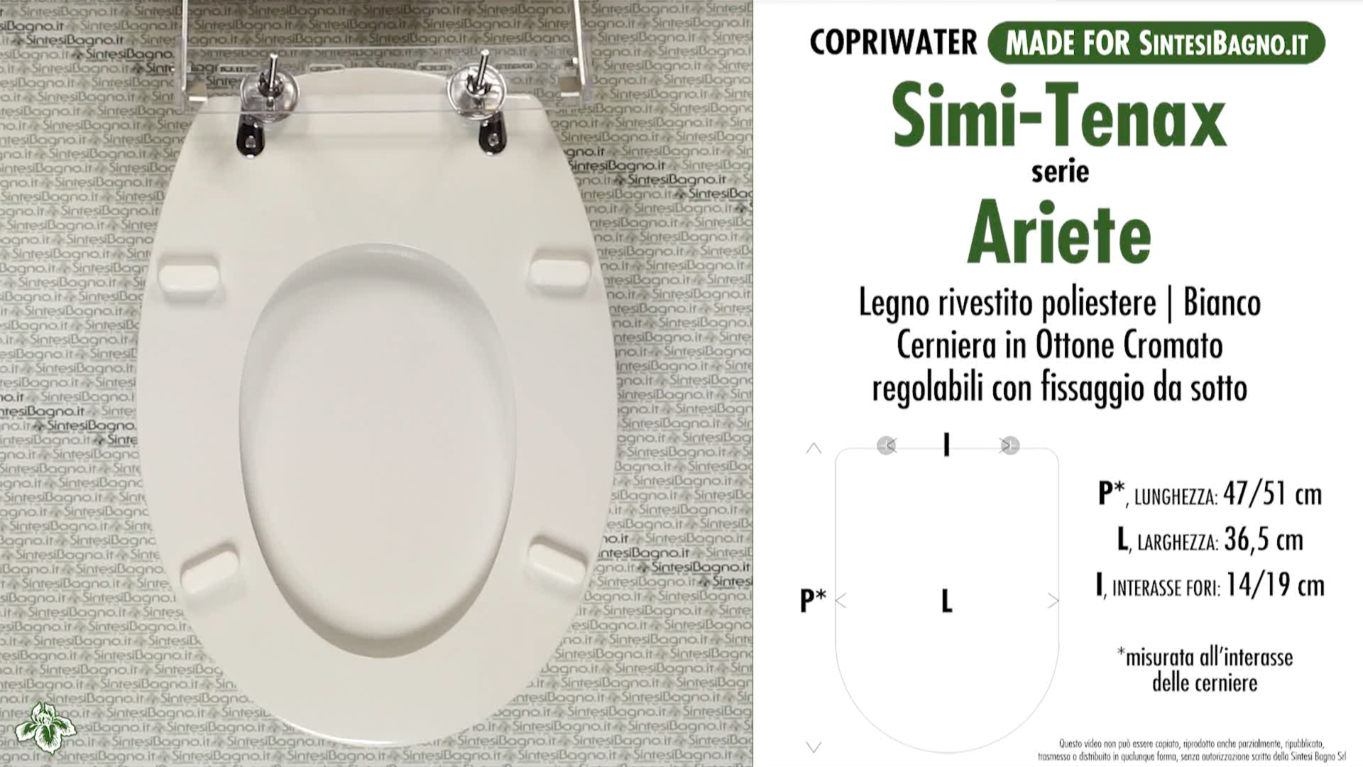 SCHEDA TECNICA MISURE copriwater SIMI-TENAX ARIETE