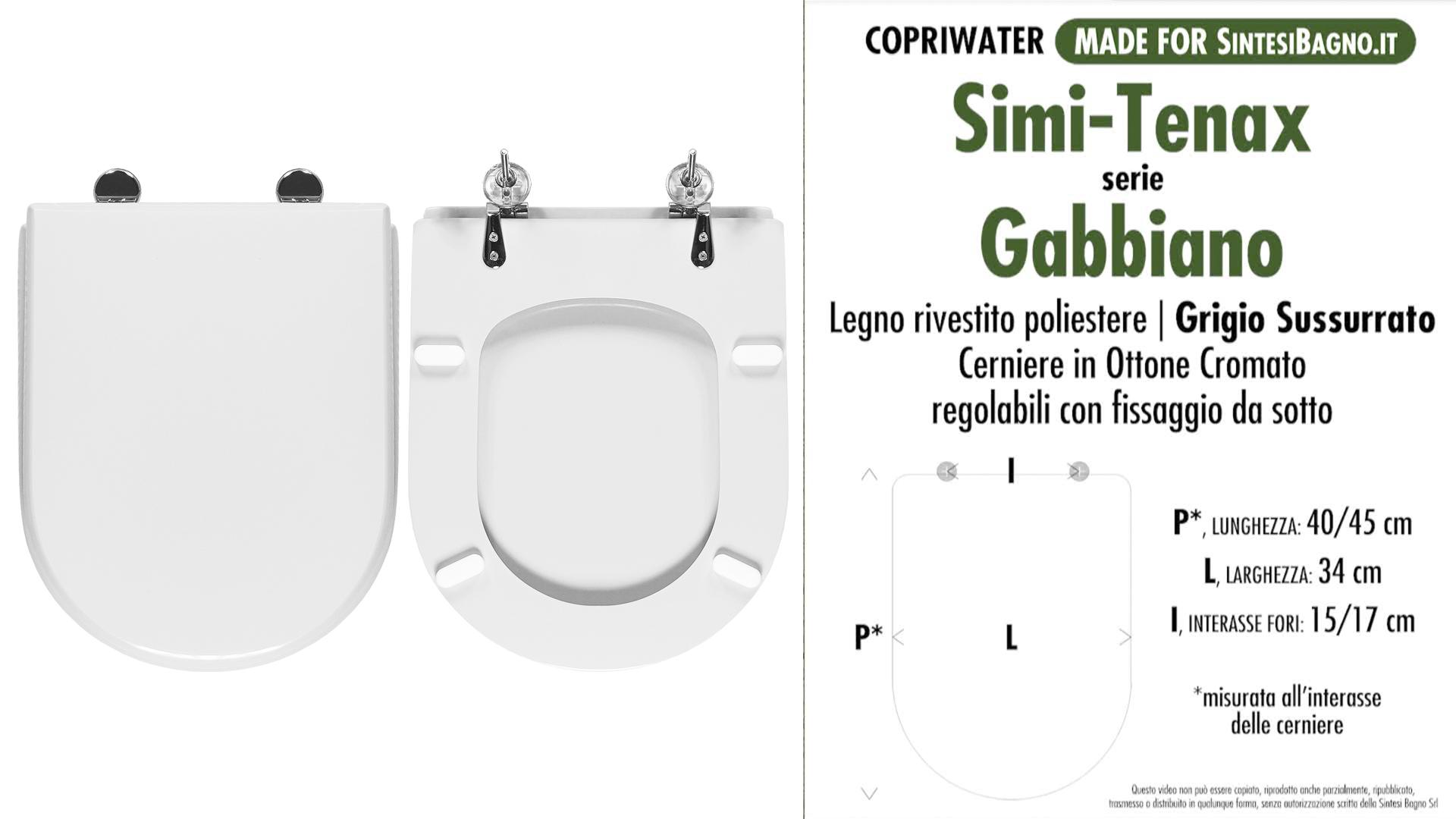 SCHEDA TECNICA MISURE copriwater SIMI-TENAX GABBIANO