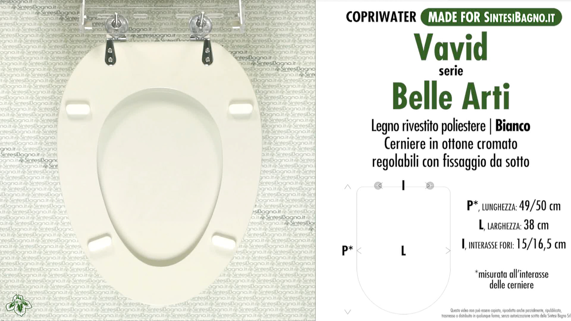 SCHEDA TECNICA MISURE copriwater VAVID BELLE ARTI