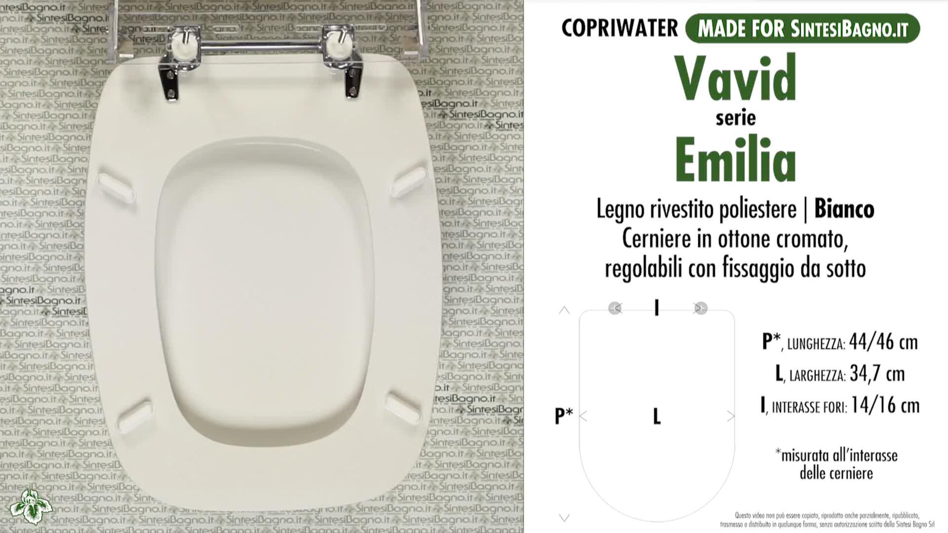 SCHEDA TECNICA MISURE copriwater VAVID EMILIA
