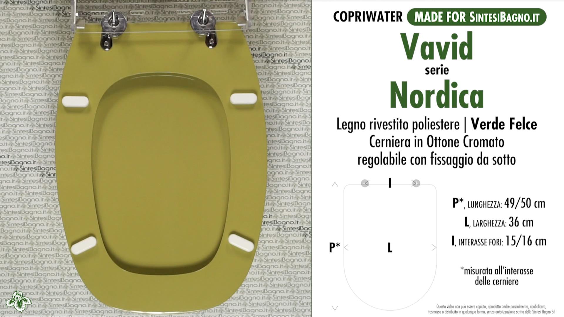SCHEDA TECNICA MISURE copriwater VAVID NORDICA