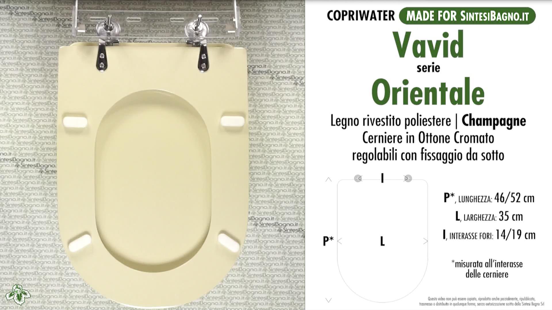 "SCHEDA TECNICA MISURE copriwater VAVID ORIENTALE"""