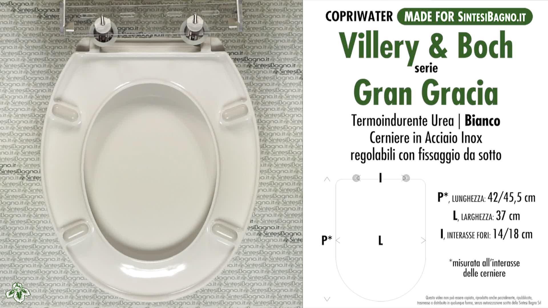 SCHEDA TECNICA MISURE copriwater VILLEROY&BOCH GRAN GRACIA