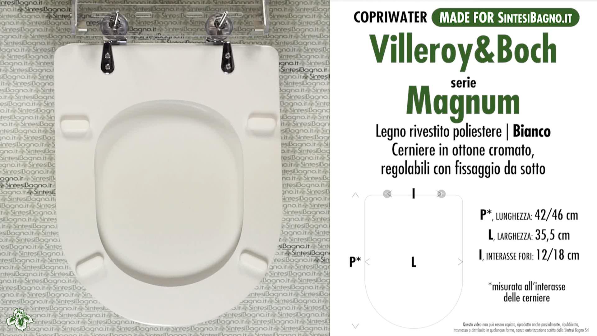 SCHEDA TECNICA MISURE copriwater VILLEROY&BOCH MAGNUM