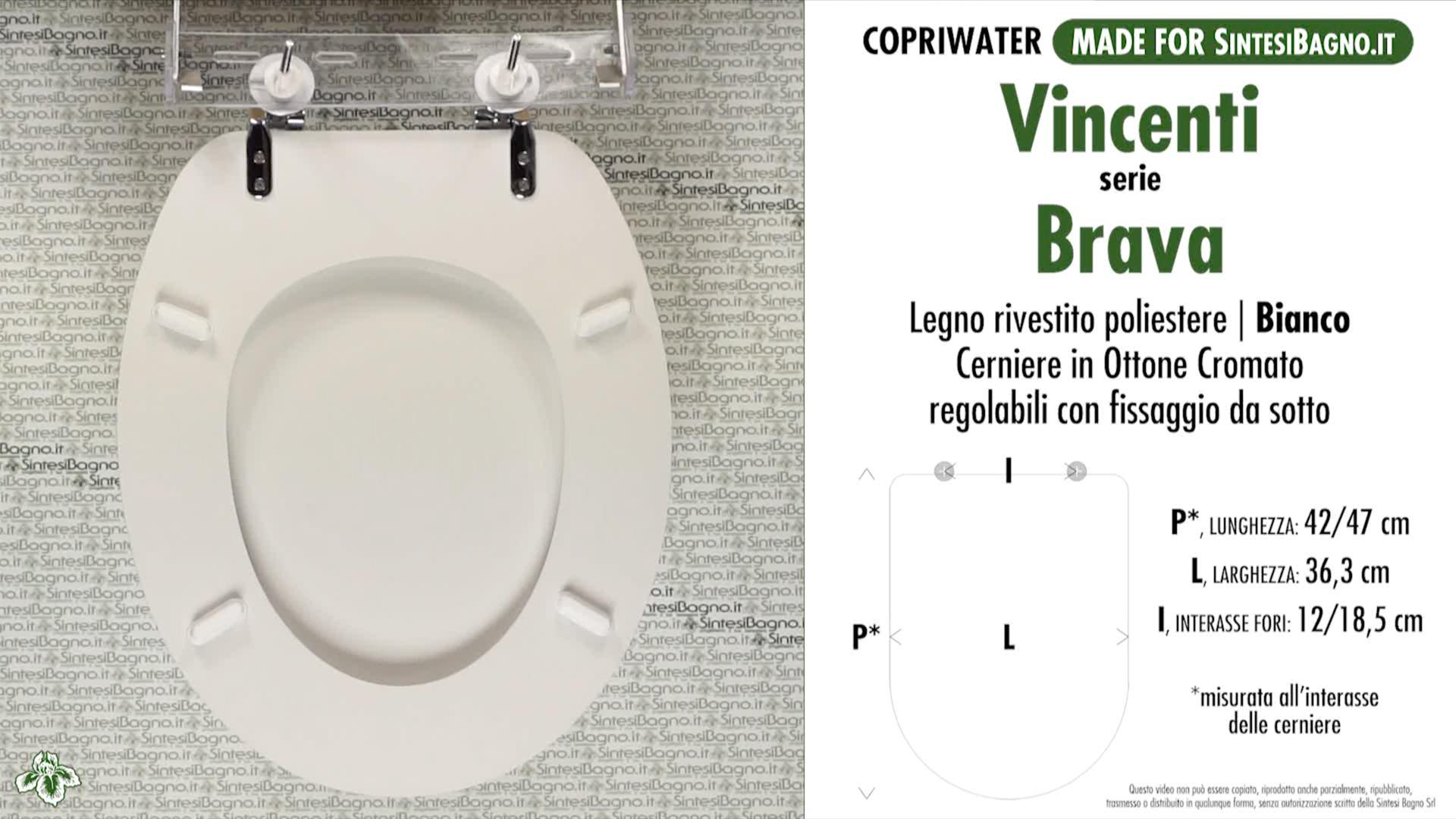 SCHEDA TECNICA MISURE copriwater VINCENTI BRAVA
