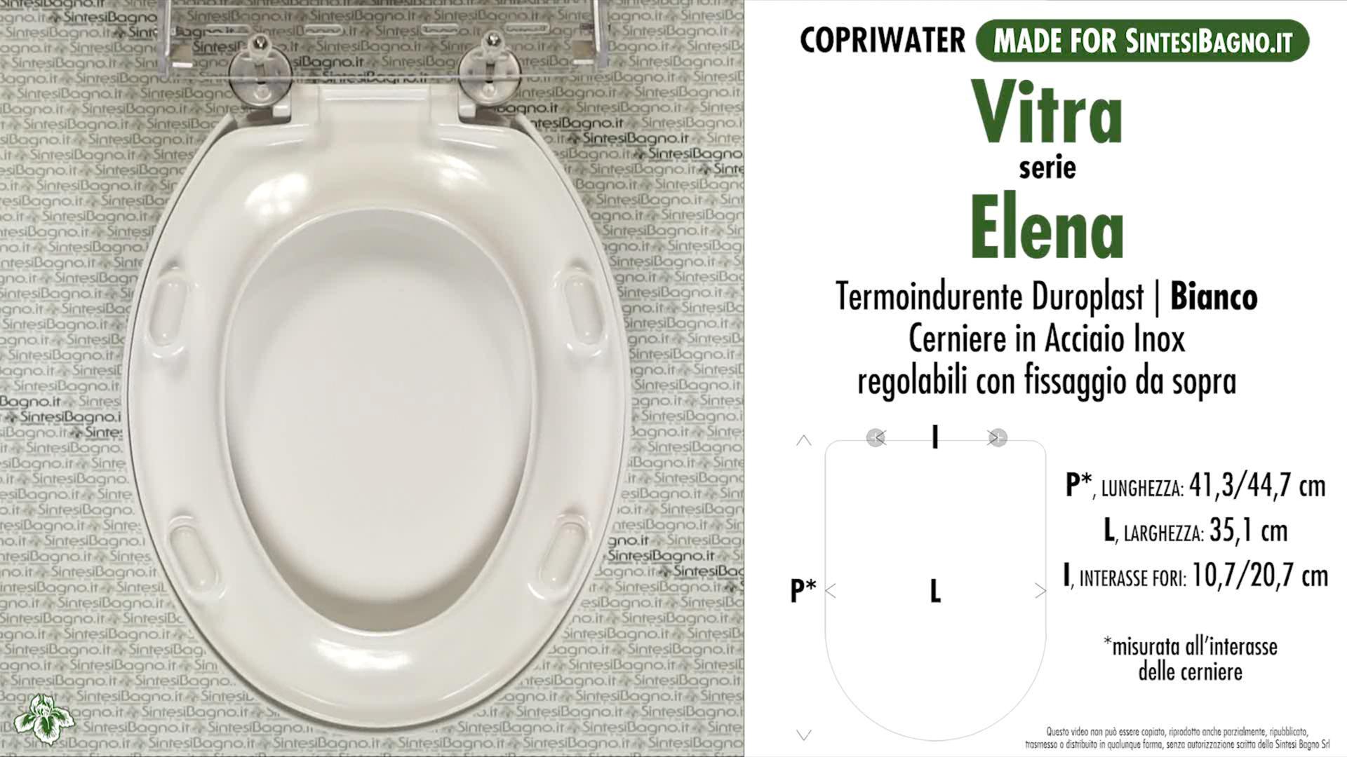 SCHEDA TECNICA MISURE copriwater VITRA ELENA