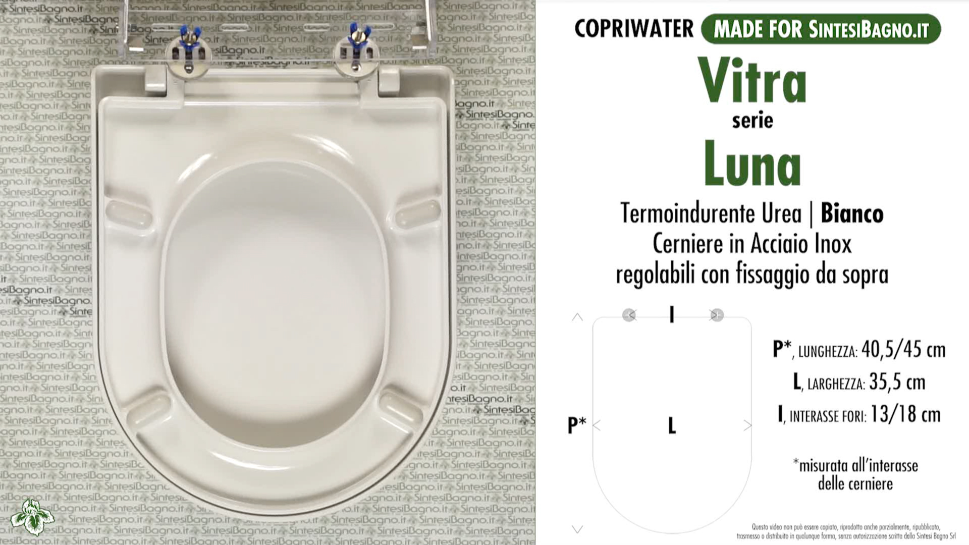 SCHEDA TECNICA MISURE copriwater VITRA LUNA